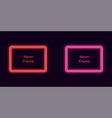 neon rectangle frame in red and pink color vector image