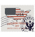 postage stamp with map usa in colors flag vector image