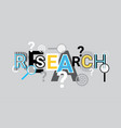 research analysis creative word over abstract vector image