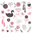set of isolated beautiful flowers and swans vector image vector image