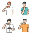 set people eating vector image vector image
