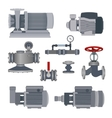 Set-water motor pump valves for pipeline vector image vector image