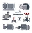 Set-water motor pump valves for pipeline vector image