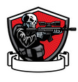 skull soldier shooting assault rifle vector image vector image