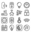 smart home and voice control icons set line style vector image vector image
