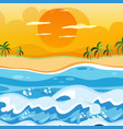 sunset on the beach background vector image vector image