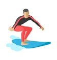 Surfer blue ocean wave getting barreled surfing vector image vector image