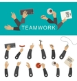 Teamwork banner with hands vector image vector image