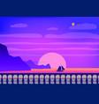 tropical sunrise at seashore sea landscape vector image vector image