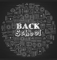 whiteboard back to school with school supplies vector image vector image