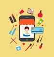 woman buys cosmetic merchandises in online store vector image vector image