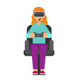 woman with gogle glasses young girl in virtual vector image vector image