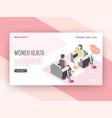women health isometric landing page vector image
