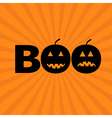 Word BOO text with smiling sad black pumpkin vector image vector image