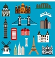 World travel landmark flat icons vector image