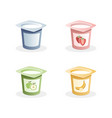 yogurt flavors with spoon inside on white vector image vector image