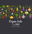 flat vegetables horizontal shop market vector image
