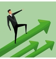 man business standing arrows growth vector image