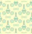 seamless background with rabbit flowers bows and vector image