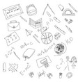 black and white school doodle elements hand vector image