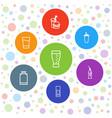 7 soda icons vector image vector image