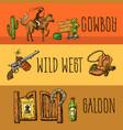 beautiful hand drawn set wild west vector image vector image