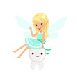 beautiful sweet blonde tooth fairy girl sitting on vector image vector image
