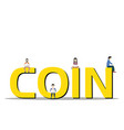bitcoin concept young people using laptop and smar vector image