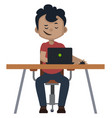 boy is working on lap top on white background vector image