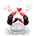 bright funny love birds with a heart vector image vector image