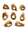 burnt paper holes realistic burn fire vector image vector image