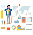 Business infographic set with icons vector image vector image