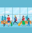 busy airport terminal business travelers family vector image vector image