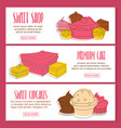 cake doodle three horizontal banners vector image