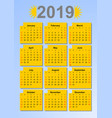 calendar 2019 in sun colors months in yellow vector image vector image