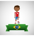 cartoon football player brazilian label vector image vector image
