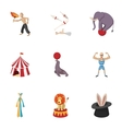 Circus chapiteau icons set cartoon style vector image vector image