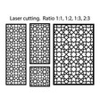 cnc template set laser pattern set geometric vector image vector image
