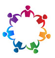 colorful people partnership teamwork logo vector image vector image