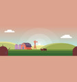 countryside skyline with sunset or sunrise vector image