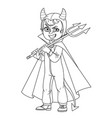 cute boy in overalls devil costume with a trident vector image vector image