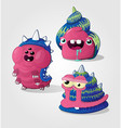 cute pink characters vector image vector image