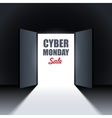 Cyber Monday Sale Background with Open Doors vector image