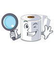 detective character toilet paper rolled on wall vector image vector image