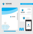 diamond business logo file cover visiting card vector image