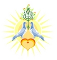 Doves of peace and love vector | Price: 1 Credit (USD $1)