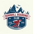 downhill boarding club badge vector image