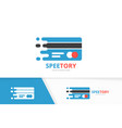 fast credit card logo combination speed vector image