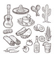 fast food and other mexican culture elements vector image vector image