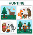 flat colorful hunting square concept vector image vector image